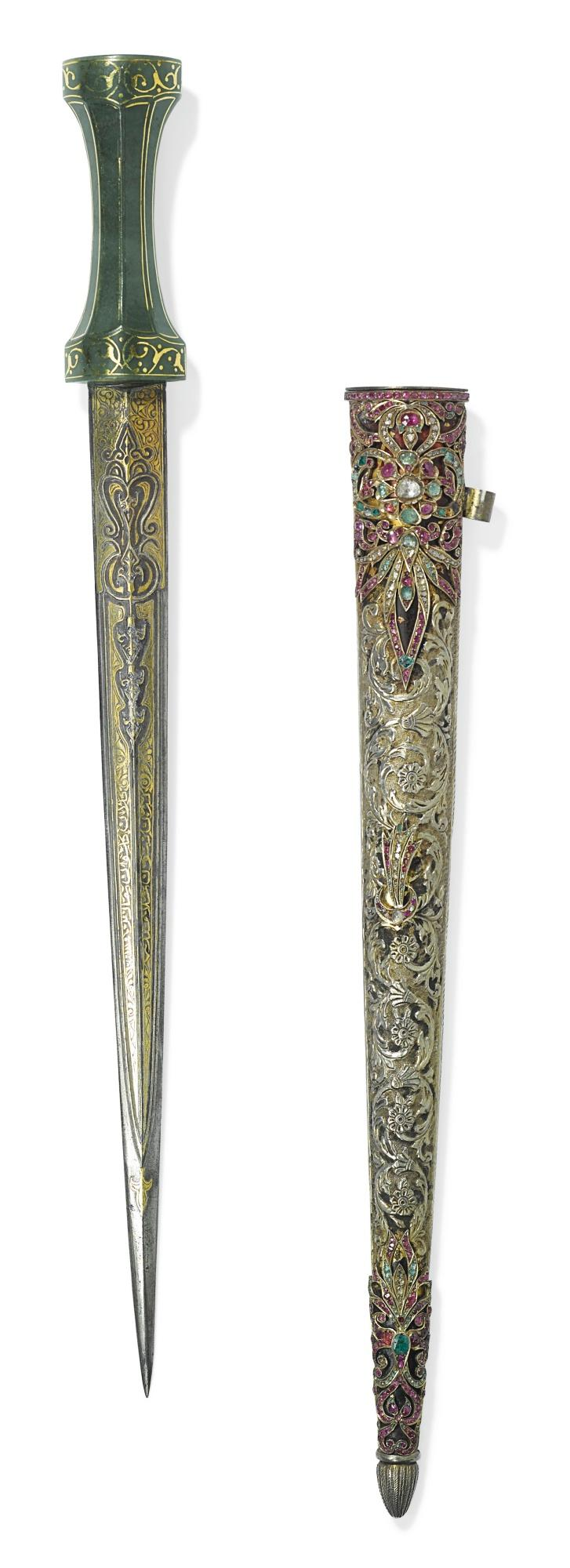 AN OTTOMAN JADE-HILTED DAGGER WITH GEM-SET SCABBARD, WITH CASE, TURKEY, 18TH/19TH CENTURY |