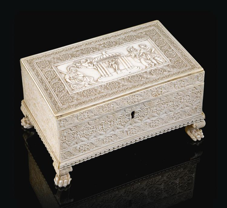 A CARVED IVORY CASKET WITH ALLEGORICAL SCENES, INDIA, BERHAMPUR, 18TH/19TH CENTURY |
