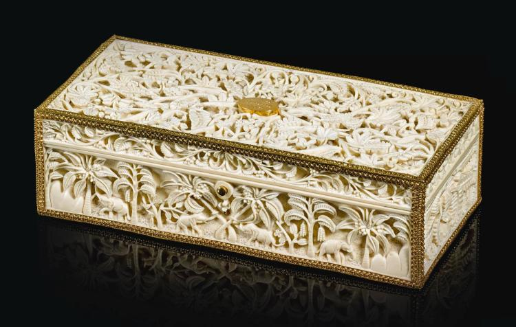 A CARVED IVORY CASKET AND SCROLL PRESENTED TO SIR JOSEPH WEST RIDGEWAY, GOVERNOR OF BRITISH CEYLON, SRI LANKA, 1903 |