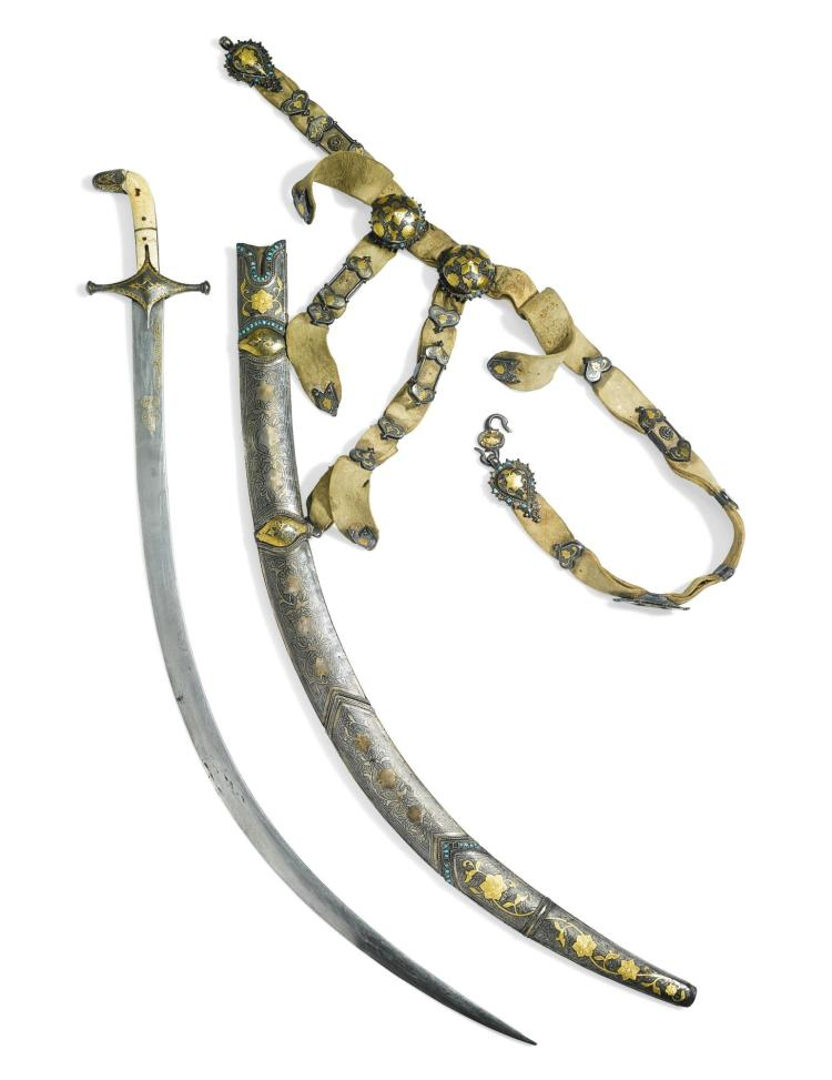 AN IVORY-HILTED SWORD (SHAMSHIR) WITH TURQUOISE-SET SILVER SCABBARD AND BELT FITTINGS, PROBABLY BUKHARA, DATED 1275 AH/1858-9 AD |