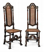 PAIR OF WILLIAM AND MARY CARVED OAK AND CANED SIDE CHAIRS, ENGLAND, LAST QUARTER 17TH CENTURY |