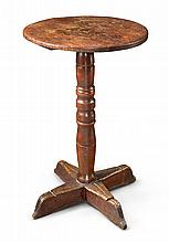 PILGRIM CENTURY TURNED MAPLE AND PINE CROSS-BASE STAND, NEW ENGLAND, CIRCA 1700 |