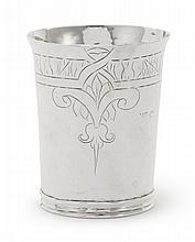 A COMMONWEALTH SILVER BEAKER, MAKER'S MARK IC IN HEART, FIVE-POINTED STAR BELOW, LONDON, 1658 |