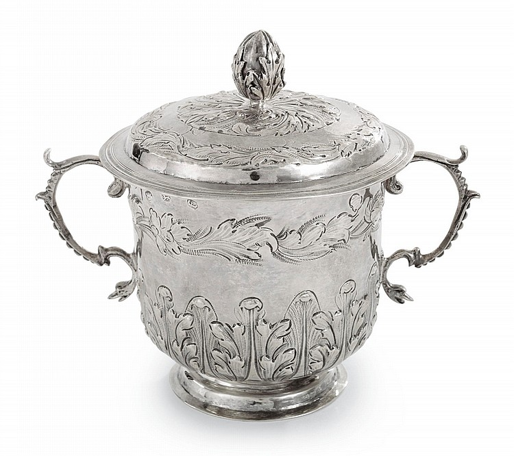 A CHARLES II SILVER TWO-HANDLED CUP AND COVER, JOHN SUTTON, LONDON, 1682/3 |