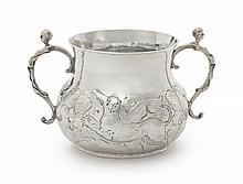 A CHARLES II SILVER TWO-HANDLED CAUDLE CUP, MAKER'S MARK WG IN HEART (JACKSON, 1989, P. 123), LONDON, 1668 |