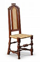 RARE WILLIAM AND MARY RED-PAINTED CARVED MAPLE AND CANED SIDE CHAIR, BOSTON, MASSACHUSETTS, CIRCA 1710 |