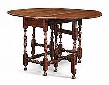 VERY RARE WILLIAM AND MARY FIGURED MAPLE GATELEG TABLE, RHODE ISLAND, CIRCA 1715 |