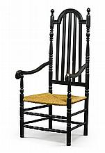 FINE AND RARE WILLIAM AND MARY BLACK-PAINTED AND TURNED MAPLE BANISTER BACK ARMCHAIR, NEW YORK, CIRCA 1720 |
