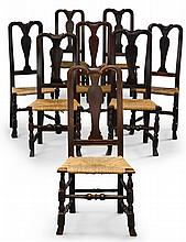 ASSEMBLED SET OF EIGHT QUEEN ANNE CARVED AND TURNED MAPLE SIDE CHAIRS, NEW ENGLAND, CIRCA 1750 |