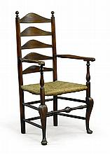RARE QUEEN ANNE WALNUT SLAT-BACK ARMCHAIR, DELAWARE RIVER VALLEY, PENNSYLVANIA, CIRCA 1750 |