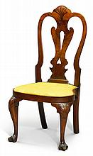 RARE QUEEN ANNE CARVED AND FIGURED WALNUT COMPASS-SEAT SIDE CHAIR, PHILADELPHIA, CIRCA 1745 |