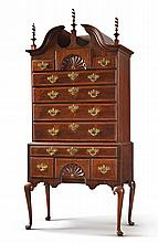 VERY FINE AND RARE QUEEN ANNE INLAID CARVED AND FIGURED WALNUT HIGH CHEST OF DRAWERS, ESSEX COUNTY, PROBABLY IPSWICH, MASSACHUSETTS, CIRCA 1760 |