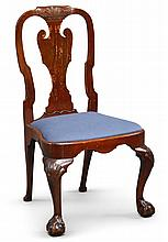THE ELLIOT FAMILY QUEEN ANNE SHELL-CARVED CEDRELA COMPASS-SEAT SIDE CHAIR, NEW YORK, CIRCA 1740 |