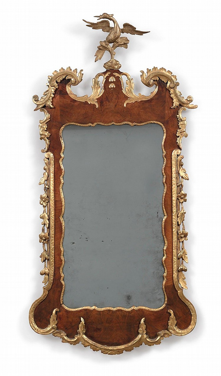 GEORGE II PARCEL-GILT AND WALNUT LOOKING GLASS, ENGLAND, CIRCA 1755 |