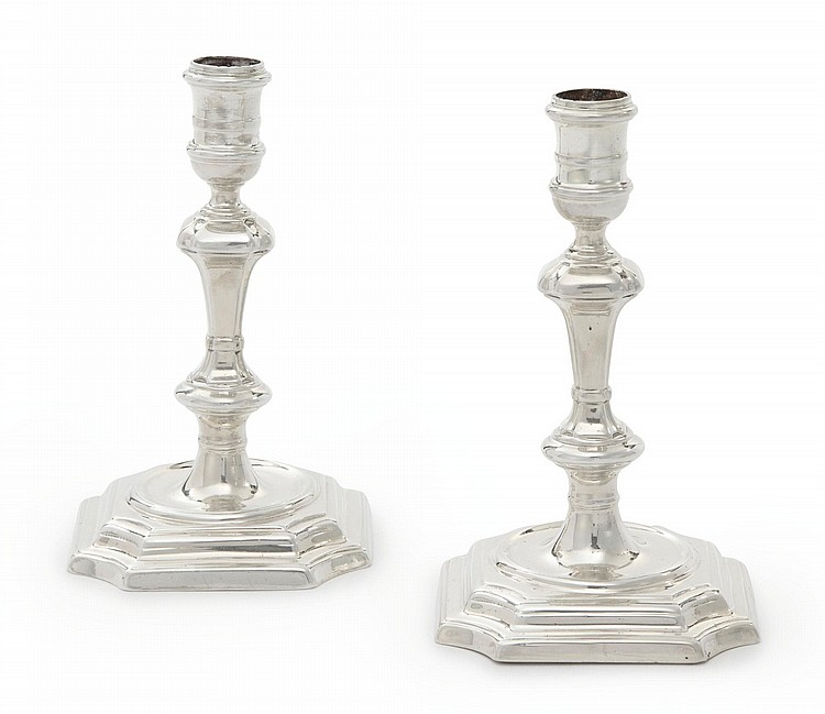 A PAIR OF GEORGE I SILVER CANDLESTICKS, THOMAS FARREN, LONDON, 1723 |