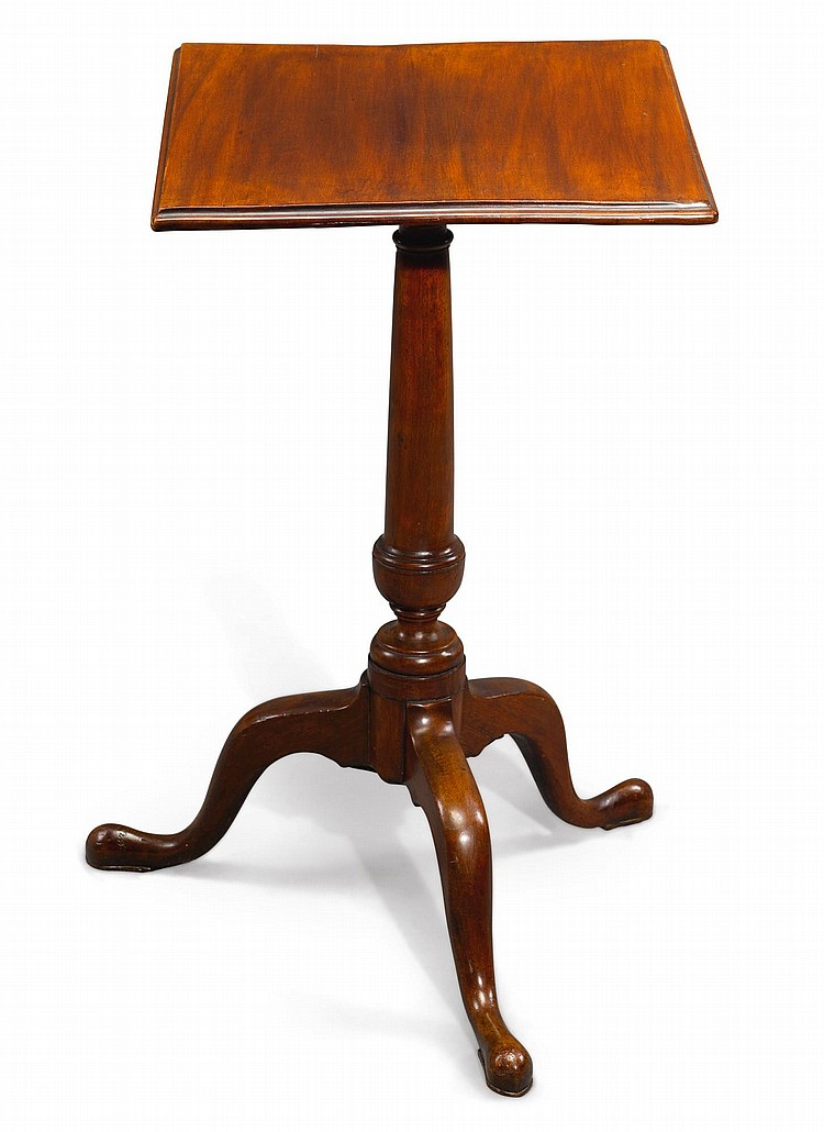 FINE QUEEN ANNE FIGURED MAHOGANY TILT-TOP CANDLESTAND, PENNSYLVANIA, CIRCA 1770 |