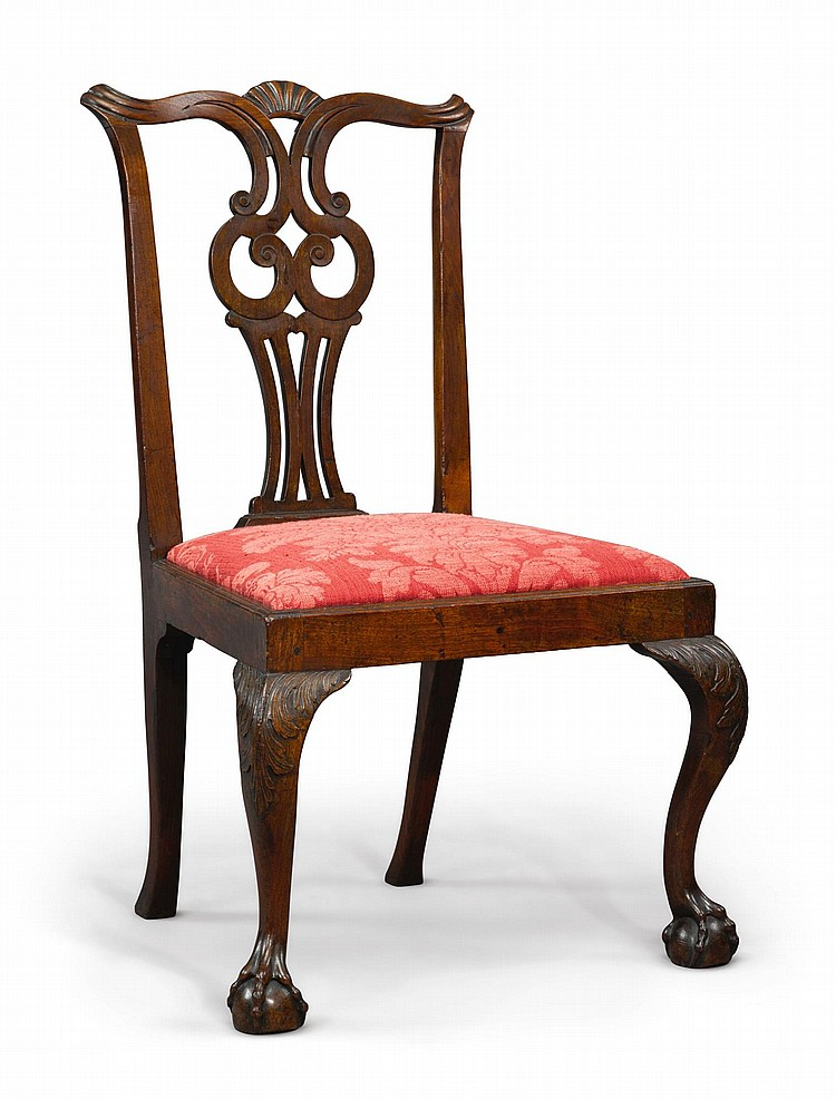 FINE CHIPPENDALE CARVED AND FIGURED MAHOGANY SIDE CHAIR, SALEM, MASSACHUSETTS, CIRCA 1770 |