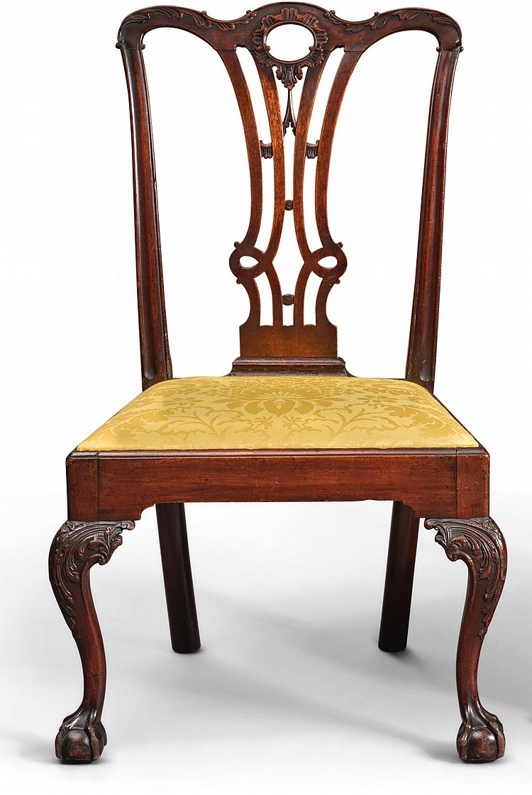 CHIPPENDALE CARVED AND FIGURED MAHOGANY SIDE CHAIR, POSSIBLY FROM THE BENJAMIN RANDOLPH WORKSHOP, PHILADELPHIA, CIRCA 1770 |