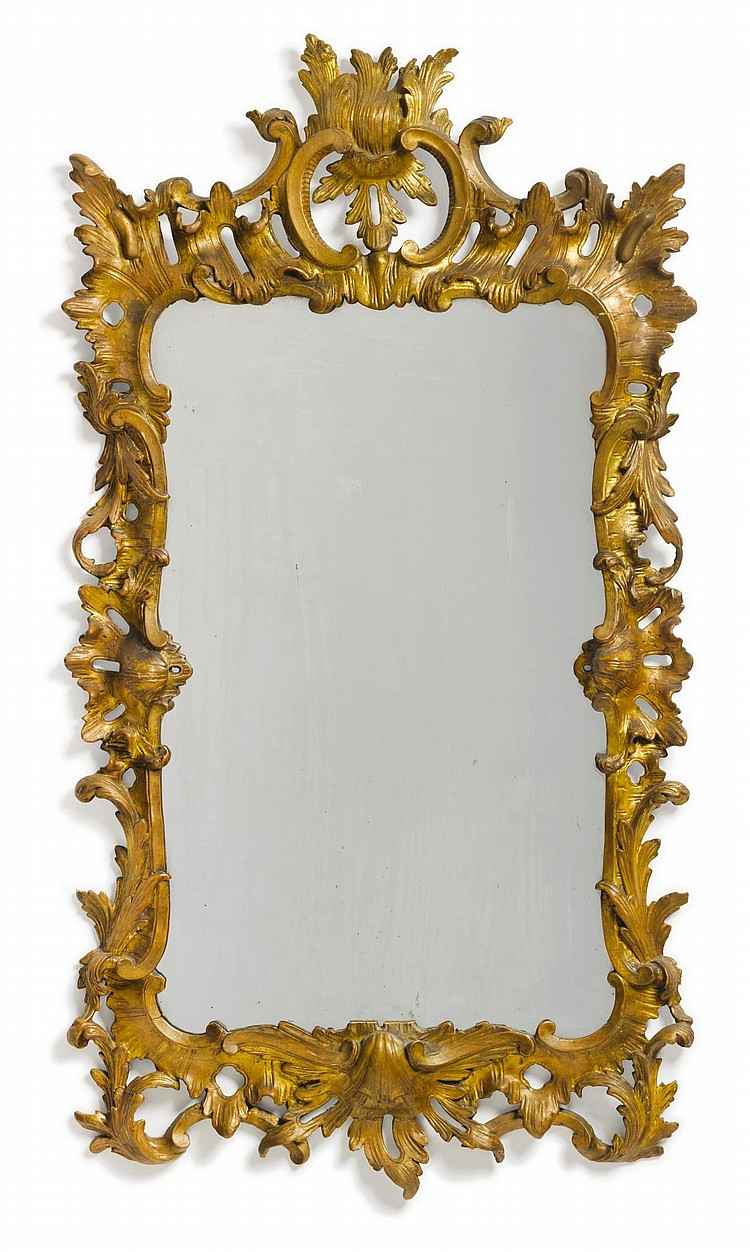 GEORGE II CARVED GILTWOOD LOOKING GLASS, ENGLAND, CIRCA 1755 |