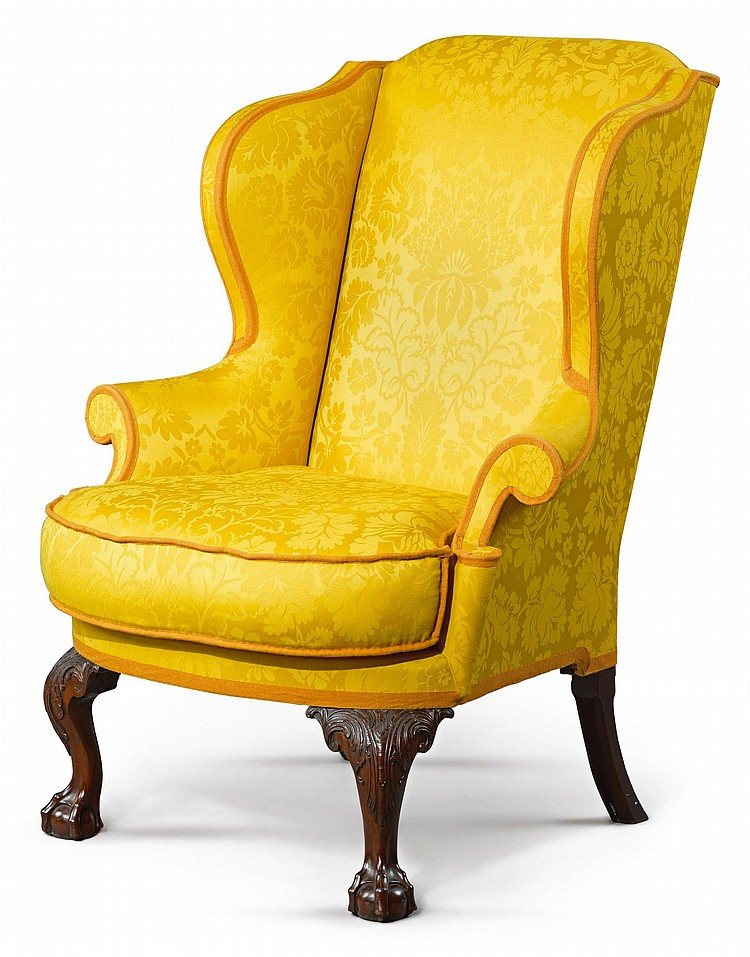 CHIPPENDALE CARVED AND FIGURED MAHOGANY EASY CHAIR, PHILADELPHIA, CIRCA 1770 |
