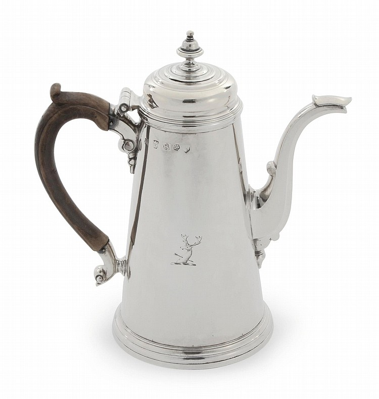 A GEORGE II SILVER CHOCOLATE POT, PENTECOST SYMONDS, EXETER, 1740 |