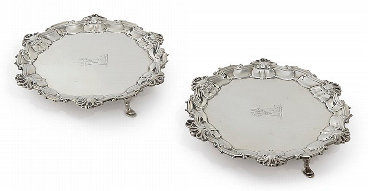 A PAIR OF GEORGE II SILVER WAITERS, WILLIAM HUNTER, LONDON, 1748 |