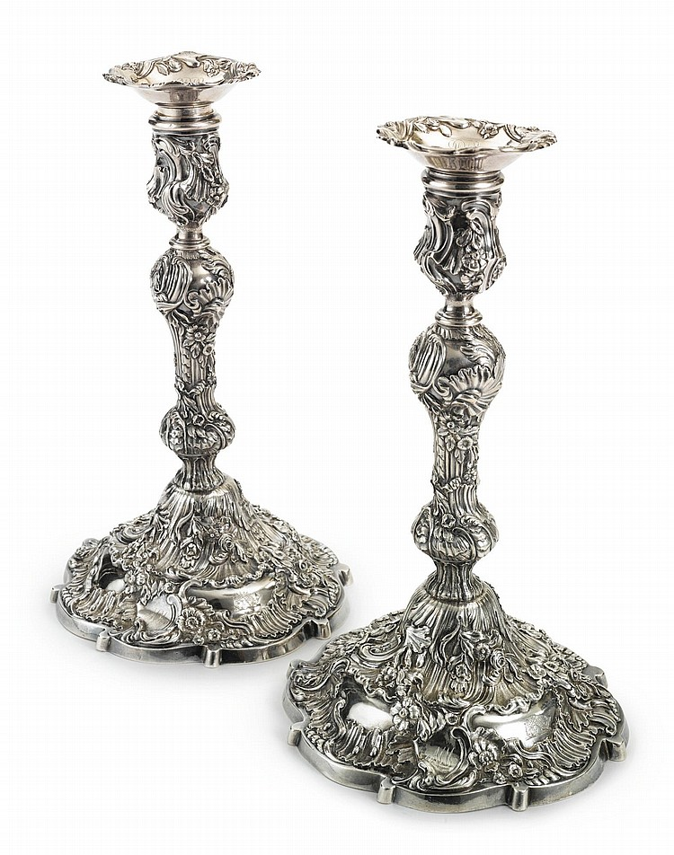 A PAIR OF GEORGE II SILVER CANDLESTICKS, PETER ARCHAMBO, LONDON, 1744 |