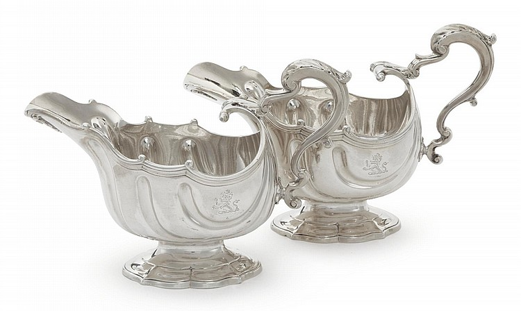 A PAIR OF GEORGE II SILVER SAUCE BOATS, PEZÉ PILLEAU, LONDON, 1751 |