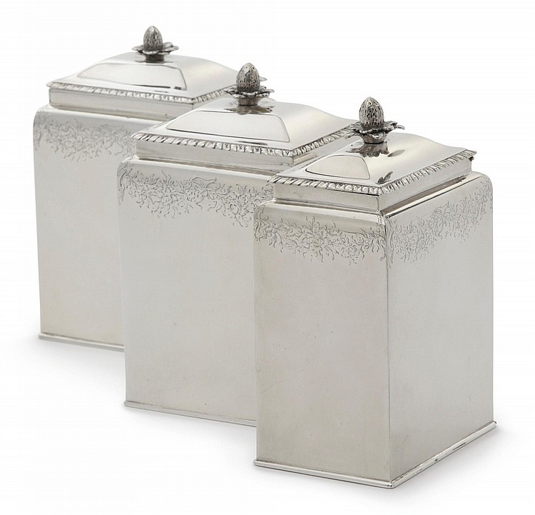 AN EARLY GEORGE III SILVER CADDY SET, MAKER'S MARK WA PELLET BETWEEN IN RECTANGLE WITH CUT UPPER CORNERS, LONDON, 1762 |