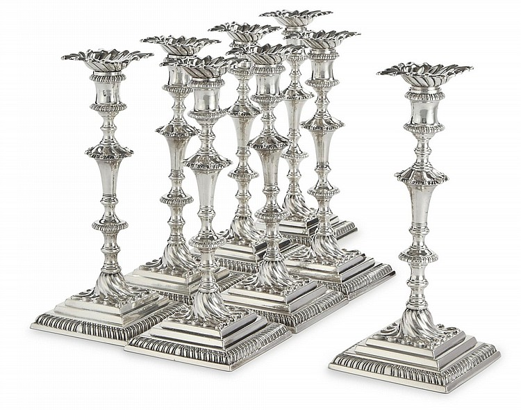 EIGHT MATCHING GEORGE III SILVER CANDLESTICKS, EBENEZER COKER, LONDON, 1763 (4) - 1764 (4) |