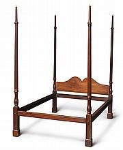 FINE CHIPPENDALE CARVED MAHOGANY MARLBOROUGH-FOOTED BEDSTEAD, PHILADELPHIA, CIRCA 1760  