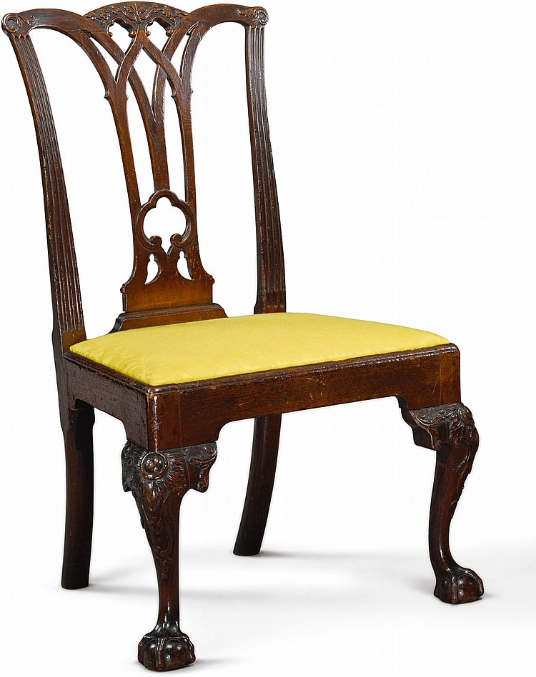 CHIPPENDALE CARVED MAHOGANY SIDE CHAIR, CARVING ATTRIBUTED TO MARTIN JUGIEZ, PHILADELPHIA, CIRCA 1770 |
