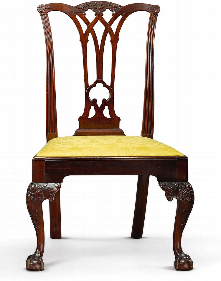 FINE CHIPPENDALE CARVED MAHOGANY SIDE CHAIR, CARVING ATTRIBUTED TO MARTIN JUGIEZ, PHILADELPHIA, CIRCA 1765-75 |