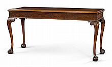 VERY FINE AND RARE CHIPPENDALE CARVED AND FIGURED MAHOGANY PIER TABLE, CARVING ATTRIBUTED TO RICHARD BUTTS, PHILADELPHIA, CIRCA 1770  