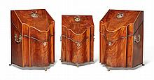 GROUP OF THREE GEORGE III SILVER-MOUNTED INLAID AND FIGURED MAHOGANY KNIFE BOXES<BR>CIRCA 1775 |