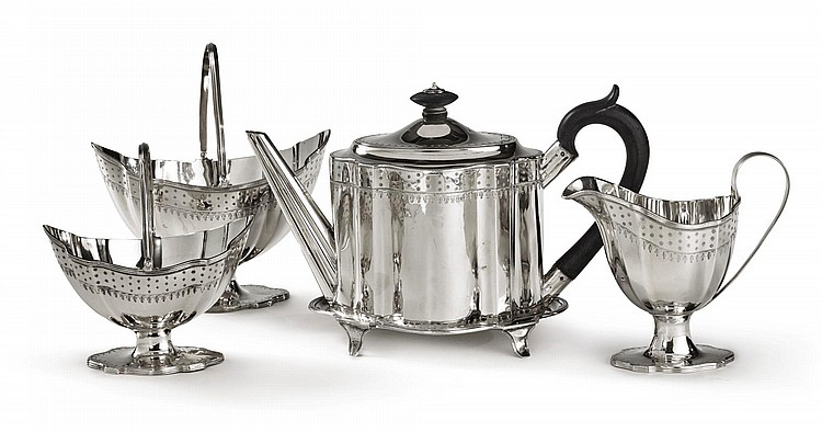 A GEORGE III SILVER FIVE-PIECE TEA SET, HENRY CHAWNER, LONDON, 1788/9 |