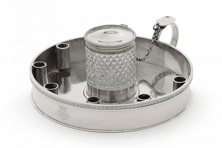 A SILVER INKSTAND |
