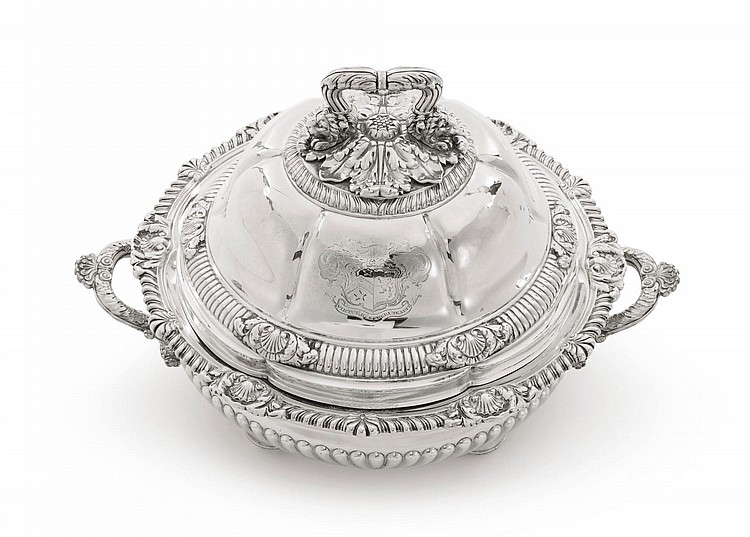 A GEORGE IV SILVER ENTRÉE DISH AND COVER ON SHEFFIELD-PLATED WARMING STAND, PAUL STORR, LONDON, 1829 |