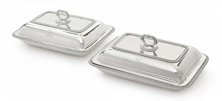 A PAIR OF GEORGE III SILVER ENTRÉE DISHES AND COVERS, T. & J. GUEST AND J. CRADOCK, LONDON, 1808 |