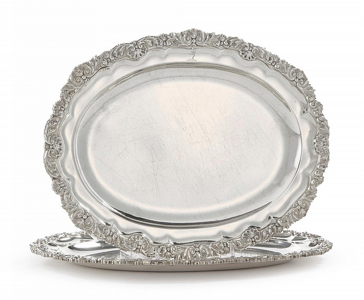 A PAIR OF REGENCY SILVER MEAT PLATTERS, PAUL STORR, LONDON, 1819 |