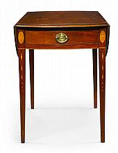 FINE FEDERAL INLAID AND FIGURED MAHOGANY DROP-LEAF PEMBROKE TABLE, BALTIMORE, MARYLAND, CIRCA 1805  