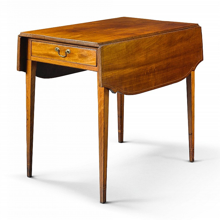 FEDERAL INLAID AND FIGURED MAHOGANY DROP-LEAF PEMBROKE TABLE, NEW YORK, CIRCA 1810 |