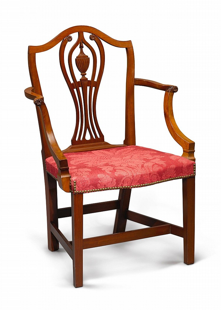 FEDERAL CARVED MAHOGANY OPEN ARMCHAIR, NEW YORK, CIRCA 1805 |