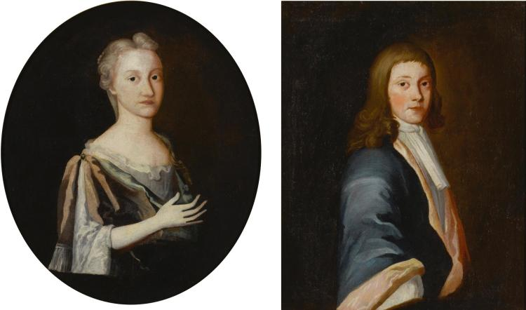 ATTRIBUTED TO THE PIERPONT LIMNER) | Portraits of Mrs. Freake Wolcott Kitchen and Mr. Edward Kitchen