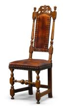 VERY FINE AND RARE WILLIAM AND MARY CARVED, TURNED AND JOINED MAPLE LEATHER-UPHOLSTERED SIDE CHAIR, BOSTON, MASSACHUSETTS, CIRCA 1710 |