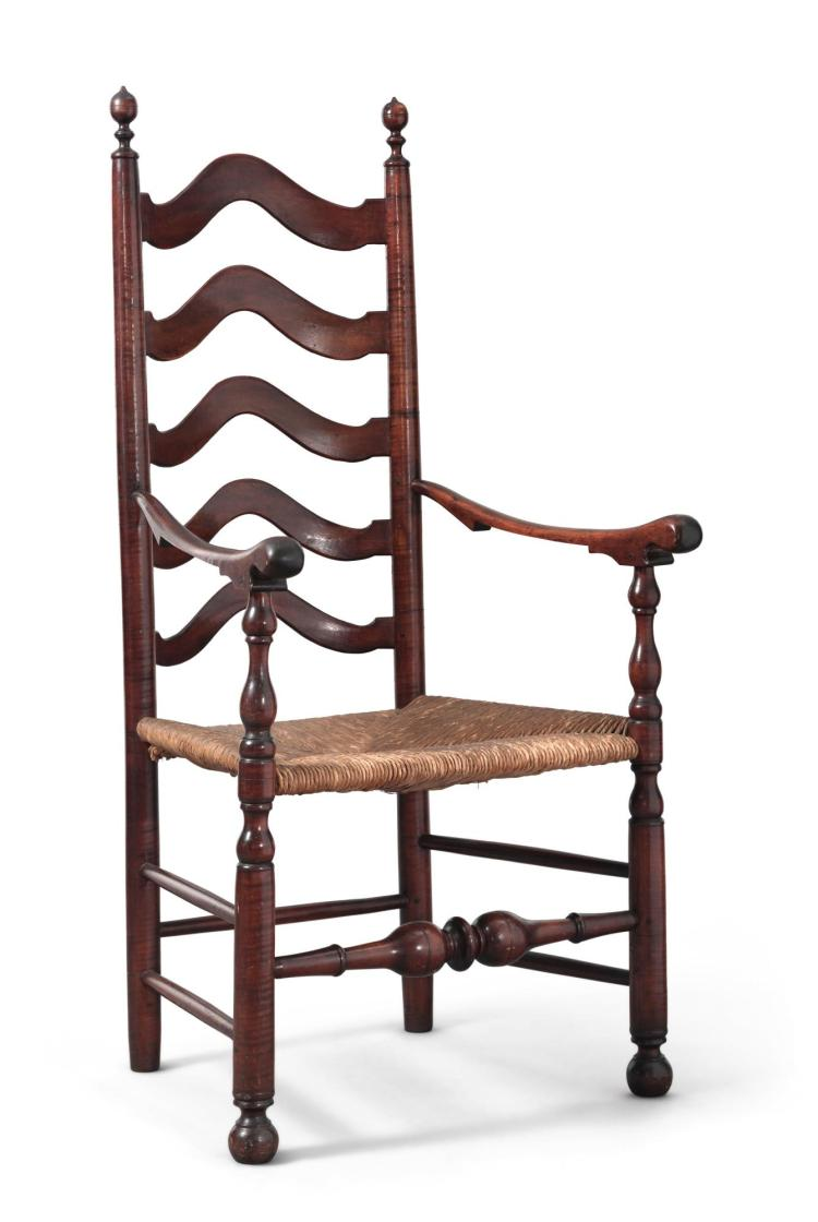 FINE AND RARE WILLIAM AND MARY TURNED MAPLE SLAT-BACK ARMCHAIR, DELAWARE RIVER VALLEY, PENNSYLVANIA, CIRCA 1750 |