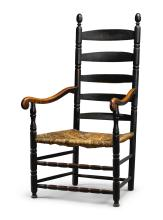 FINE AND RARE WILLIAM AND MARY BLACK-PAINTED TURNED MAPLE SLAT-BACK ARMCHAIR, NEW YORK OR NORTHERN NEW JERSEY, CIRCA 1730 |