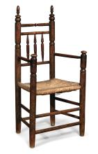 PILGRIM CENTURY TURNED POPLAR SPINDLE-BACK ARMCHAIR, MASSACHUSETTS, CIRCA 1685 |