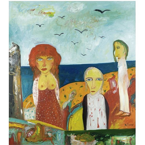 m - John Bellany, R.A. , b.1942 figures by the sea oil on canvas, unframed