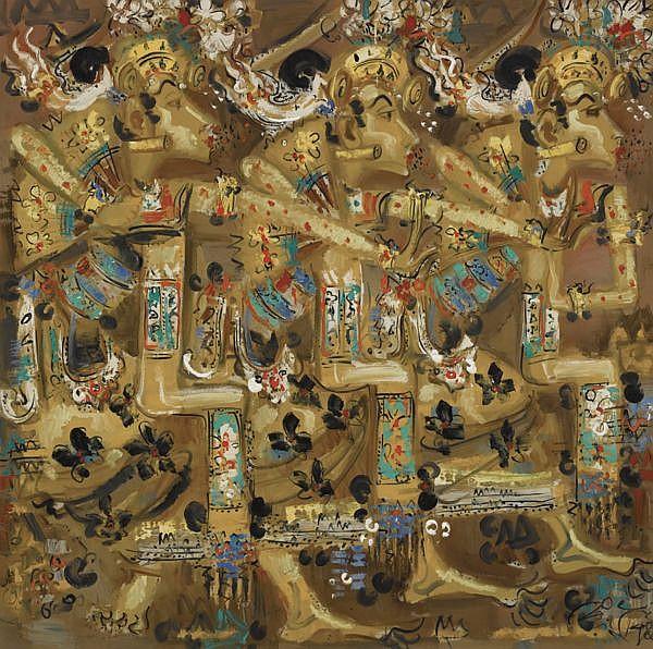 Nyoman Gunarsa B. 1944 , Dancers oil on canvas